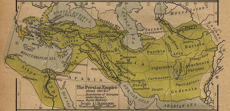 map of Persian Empire, 500 AD