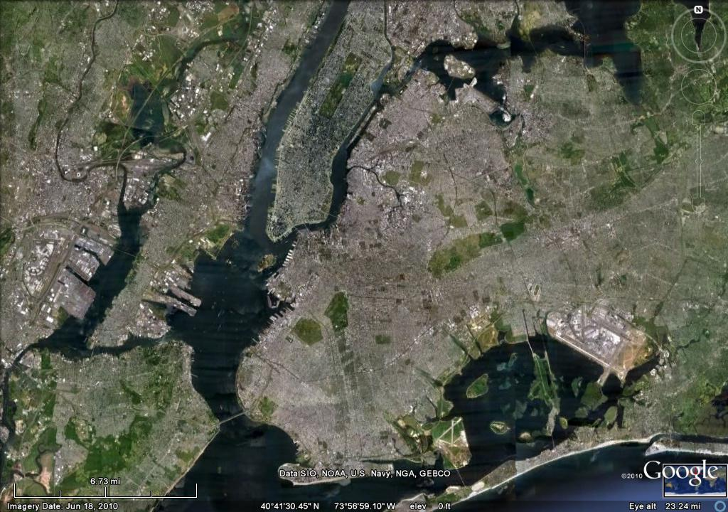 Google Map picture of New York Harbor